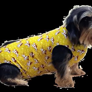 műtét utáni ruha kutya sárga fényesített átlátszó